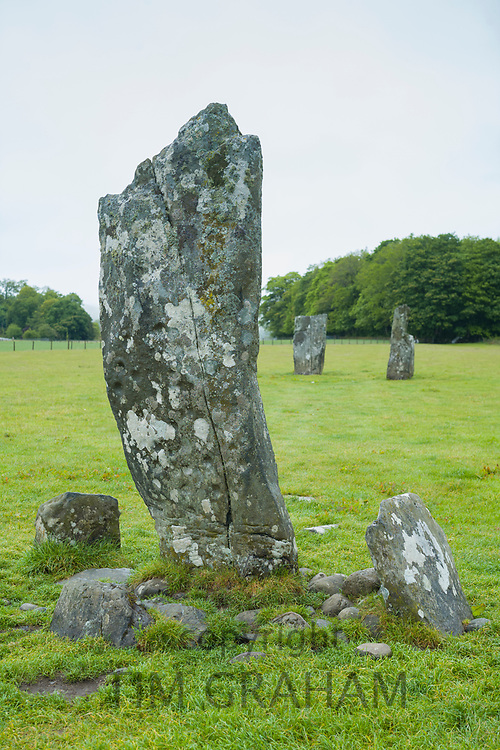 Nether Largie standing stones burial monument from the Bronze Age at Kilmartin Glen, Argyll, Scotland