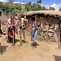 Africa, Kenya, Maasai Mara. Maasai of the Mara teach westerner how to build a boma home.