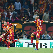 Galatasaray's Wesley Sneijder (2ndL) celebrate his goal with team mate during their Turkish Super League derby match Galatasaray between Besiktas at the AliSamiYen Spor Kompleksi TT Arena at Seyrantepe in Istanbul Turkey on Sunday, 24 May 2015. Photo by Aykut AKICI/TURKPIX