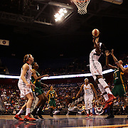 Chiney Ogwumike, Connecticut Sun, rebounds during the Connecticut Sun Vs Seattle Storm WNBA regular season game at Mohegan Sun Arena, Uncasville, Connecticut, USA. 23rd May 2014. Photo Tim Clayton