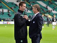 05/11/15 UEFA EUROPA LEAGUE GROUP STAGE<br /> CELTIC v MOLDE FK<br /> CELTIC PARK - GLASGOW<br /> Celtic manager Ronny Deila (left) with Ole Gunnar Solskjaer
