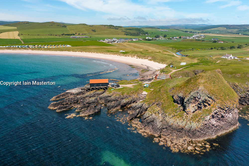 Aerial view from drone of Dunaverty Rock on Dunaverty Bay Beach on Kintyre peninsula, Southend, Argyll and Bute, Scotland, Uk