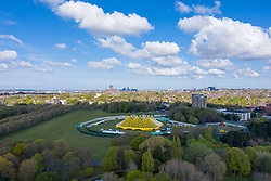 LIVERPOOL, ENGLAND - Wednesday, April 28th, 2021: A large tent erected in Sefton Park, Liverpool, ahead of a brand new music festival which is part of the national Events Research Programme (ERP). The Sefton Park Pilot, which takes place on Sunday 2 May, will feature bands Blossoms, The Lathums and Liverpool singer-songwriter Zuzu. Up to 5,000 local residents who take COVID tests prior to the event are allowed to attend without any social distancing or face mask requirements. (Pic by David Rawcliffe/Propaganda)