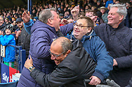 AFC Wimbledon manager Wally Downes celebrating with the crowd during the EFL Sky Bet League 1 match between Southend United and AFC Wimbledon at Roots Hall, Southend, England on 16 March 2019.