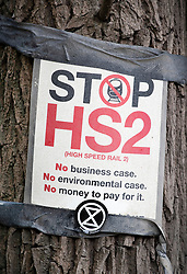 © Licensed to London News Pictures. 28/04/2019. London, UK. An Extinction Rebellion (XR) sticker is placed on a Stop HS2 poster as XR activists have joined with Stop HS2 protestors to occupy trees in Colne Valley west of London to stop their felling for the HS2 rail project. Workers were expected to start cutting down the trees yesterday and to continue today but the protests have stopped the work. Photo credit: Peter Macdiarmid/LNP