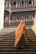 Groundswoman in Mehrangarh Fort in the city of Jodhpur, Rajasthan, India
