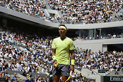 May 27, 2019 - Paris, France - Rafael Nadal of Spain reacts during the man's singles first round of the French Open tennis tournament against Yannick Hanfmann of Germany at Roland Garros in Paris, France on May 27, 2019. (Credit Image: © Ibrahim Ezzat/NurPhoto via ZUMA Press)