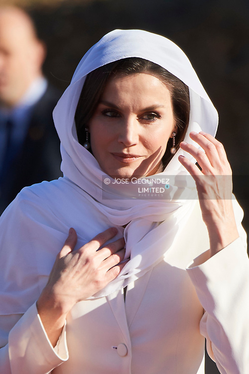 Queen Letizia of Spain visit the Mausoleum of King Mohammed V on February 14, 2019 in Rabat, Morocco.<br /> The Spanish Royals are on a two day visit to Morocco