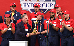 Team USA captain Steve Stricker celebrates with the team with the Ryder Cup trophy after victory against Team Europe at the end of day three of the 43rd Ryder Cup at Whistling Straits, Wisconsin. Picture date: Sunday September 26, 2021.
