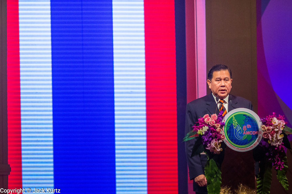 24 JUNE 2014 - BANGKOK, THAILAND: General THANASAK PATIMAPAKORN, Deputy Head of the National Council for Peace and Order (NCPO), the ruling Military junta in Thailand speaks at the 6th Asian Ministerial Conference on Disaster Risk Reduction (AMCDRR). The AMCDRR started in Bangkok on June 24. The first of the biennial conferences was held in Beijing in 2005 after the 2004 Asian Tsunami and H5N1 Bird Flu epidemic of 2004. The conference this year in Bangkok will focus on possible disasters related to climate change, sustainable development, and managing public private partnerships for disaster risk.     PHOTO BY JACK KURTZ