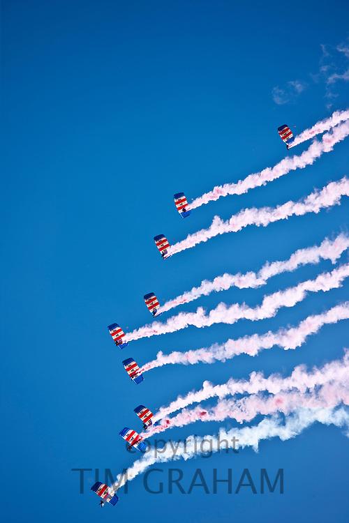 RAF Falcons freefall parachute team taking part in air display at RAF Brize Norton Air Base, UK