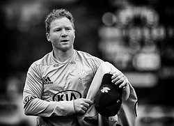 Surrey's Gareth Batty finishes an over<br /> <br /> Photographer Simon King/Replay Images<br /> <br /> Vitality Blast T20 - Round 14 - Glamorgan v Surrey - Friday 17th August 2018 - Sophia Gardens - Cardiff<br /> <br /> World Copyright © Replay Images . All rights reserved. info@replayimages.co.uk - http://replayimages.co.uk