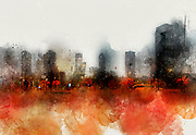 Digitally enhanced image of Tel Aviv, Israel. Skyline at dawn