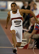 Allen Simms of the University of Southern California wins the triple jump at 55-4 3/4 in the USA Track & Field Indoor Championships at the Reggie Lewis Track & Athletic Center at Roxbury Community College on Saturday, Feb. 28, 2004