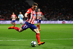 MADRID, April 2, 2018  Atletico Madrid's Kevin Gameiro kicks the ball during the Spanish league match between Atletico de Madrid and RC Deportivo de La Coruna in Madrid, Spain, on April 1, 2018. Atletico Madrid won 1-0.  wll) (Credit Image: © Edward Peters Lopez/Xinhua via ZUMA Wire)