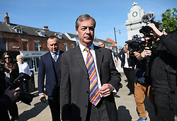 Brexit Party leader Nigel Farage during his walkabout in Pontefract town centre, West Yorkshire, while on the European Election campaign trail. Picture dated: Monday May 13, 2019. Photo credit should read: Isabel Infantes / EMPICS Entertainment.