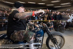 Custom builder Chopper Dave Frestonchopp on the Panhead he built for the Born Free raffle for the grand entry of invited builders into the Mooneyes Yokohama Hot Rod & Custom Show at the Pacifico exhibition hall. Yokohama, Japan. December 3, 2016.  Photography ©2016 Michael Lichter.
