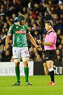 Dean Budd chats wins Nigel Owens during the Guinness Pro 14 2018_19 match between Edinburgh Rugby and Benetton Treviso at Murrayfield Stadium, Edinburgh, Scotland on 28 September 2018.
