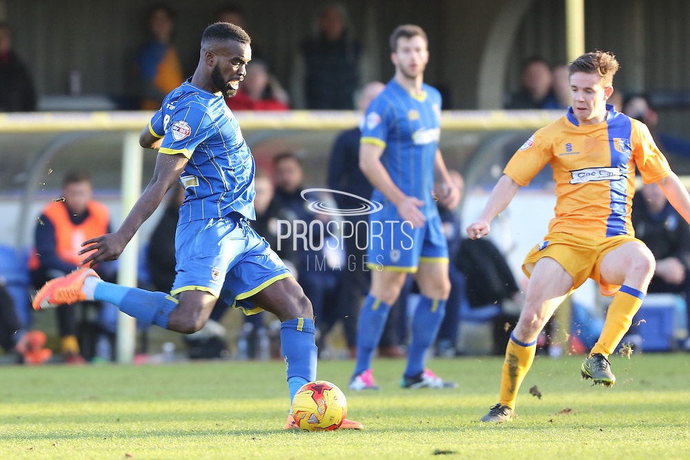 Karleigh Osborne of AFC Wimbledon in action during the Sky Bet League 2 match between AFC Wimbledon and Mansfield Town at the Cherry Red Records Stadium, Kingston, England on 16 January 2016. Photo by Stuart Butcher.