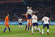 England defender Kyle Walker heads the ball clear during the Friendly match between Netherlands and England at the Amsterdam Arena, Amsterdam, Netherlands on 23 March 2018. Picture by Phil Duncan.