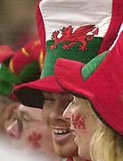 Cardiff, Wales, UK., Millennium Stadium 14th February<br /> 2004, 6 Nations, Wales vs Scotland, [Mandatory Credit; Peter Spurrier; Intersport Images],<br />  <br /> <br /> 14/02/2004  -  RBS Six Nations Championship 2004 Wales v Scotland:<br /> Welsh Fans, Dragon Hats and Cheek tattoos,   [Mandatory Credit, Peter Spurrier/ Intersport Images]