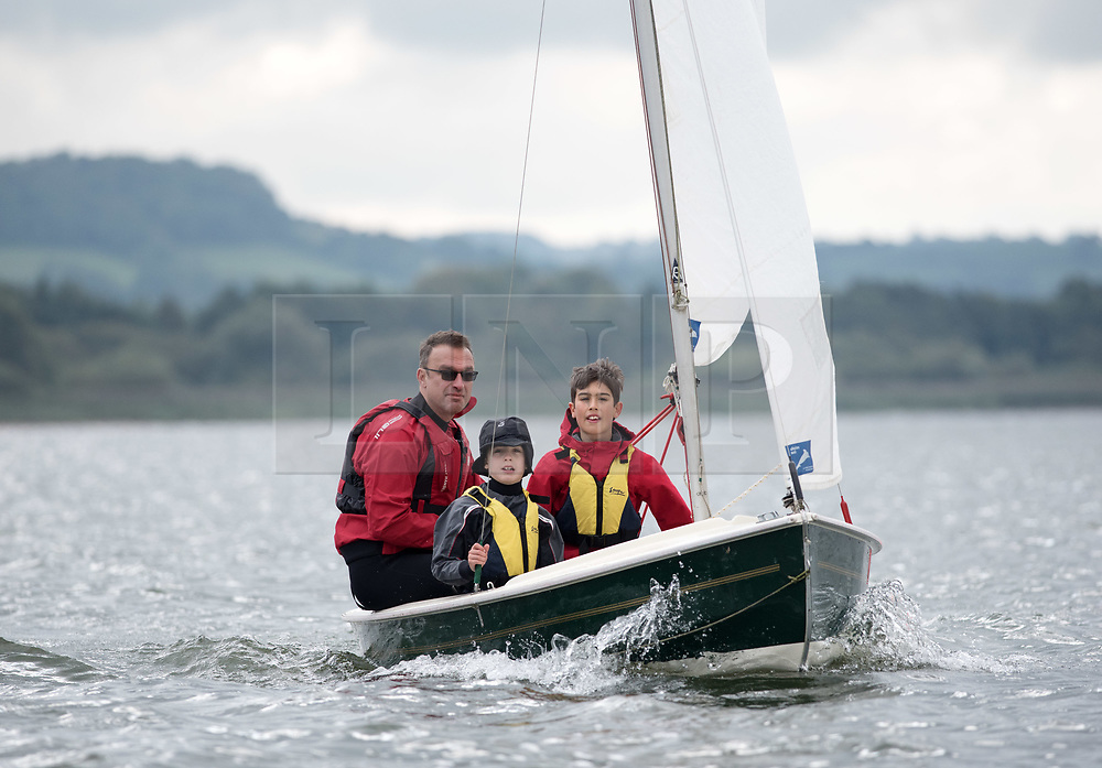 """© Licensed to London News Pictures.  17/09/2017; Chew Valley Lake, Somerset, UK. 'Bart's Bash 2017, part of the World's Largest Sailing Event held across the UK and internationally. Chew Valley Lake Sailing Club takes part in the annual Bart's Bash Event with other sailing clubs around the world to help raise funds for the Andrew """"Bart"""" Simpson Foundation, a charity which helps young people of all abilities improve their lives through participation in the sport of sailing, and which this year is supporting sailing clubs adversely affected by Hurricane Irma. There are currently 587 clubs worldwide involved and 79 countries. This year 77 boats took part at Chew Valley Lake and the club was the 4th largest participant in the world this year. Picture credit : Simon Chapman/LNP"""