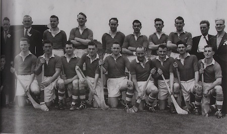 Cork-All-Ireland Hurling Champions 1954. Back Row: Jack Barrett (Selector), A Scannell ( Chairman), D Creedon, G O'Riordan, J Lyons, M Fuohy, G Murphy, P Collins (Selector), J Barry (Trainer). Front Row: E Goulding, W J Daly, A O'Shaughnessy, J Clifford, J Hartnett, C Ring (capt), P Barry, V Twomey, W Moore.