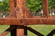 Detail of a rusty old iron gate - Chateau Grand Mayne, Saint Emilion, Bordeaux