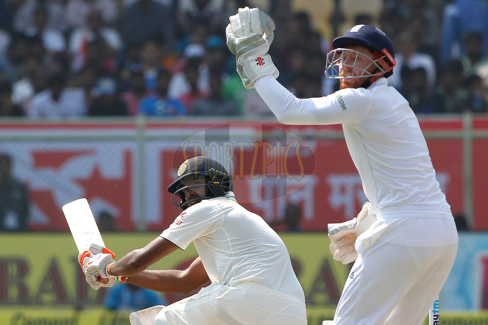 Ravichandran Ashwin of India plays a shot during day second of the 2nd test match between India and England in Vizag held at the Dr. Y.S. Rajasekhara Reddy ACA-VDCA Cricket Stadium on the 18th November 2016.<br /> <br /> Photo by: Deepak Malik/ BCCI/ SPORTZPICS
