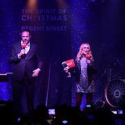 Jamie Theakston and Amanda Holden presenting Regent Street Christmas Lights switch-on celebrate its 200th anniversary on 14 November 2019, London, UK.