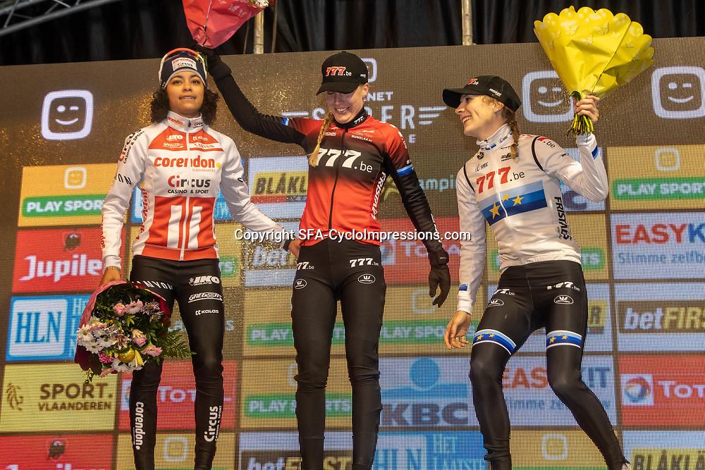 2019-12-29: Cycling: Superprestige: Diegem: Annemarie Worst wins the nightcross of Gieten, Ceylin  del Carmen Alvarado finishes second and stays leader in the GC, European Champion Yara Kastelijn took the third podium spot