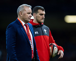 Wales Head Coach Wayne Pivac during the pre match warm up<br /> <br /> Photographer Simon King/Replay Images<br /> <br /> Friendly - Wales v Barbarians - Saturday 30th November 2019 - Principality Stadium - Cardiff<br /> <br /> World Copyright © Replay Images . All rights reserved. info@replayimages.co.uk - http://replayimages.co.uk
