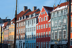 Winter view of old buildings in famous Nyhavn harbour area in Copenhagen Denmark