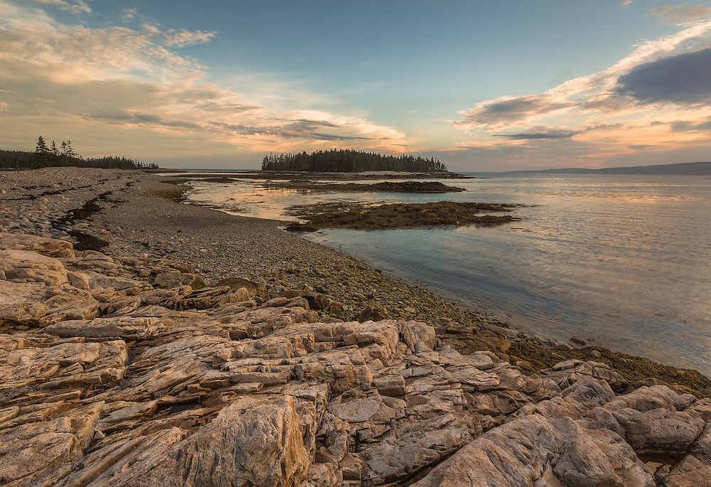 The sun begins to set over the Schoodic Peninsula, a quieter and less populated park of Acadia National Park in Maine.