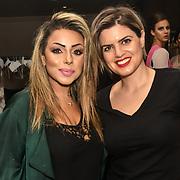Ellie Salehzahi MUA and Hair Stylist, Stella Tsiledaki  backstage at SMGlobal Catwalk - London Fashion Week F/W19 at Clayton Crown Hotel,  Cricklewood Broadway, on 1st March 2019, London, UK.