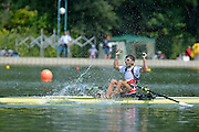 Plovdiv BULGARIA. Junior Men's Single Sculls Gold Medalist. CZE JM1X, Michal PLOCEK celebrates after the race, at the 2012 FISA Junior and Non Olympic . Rowing Championships, Plovdiv Rowing Course.     10:07:08  Sunday  19/08/2012 [Mandatory Credit Peter Spurrier: Intersport Images]...