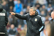 Aston Villa Manager Eric Black makes a point during the game.<br /> Barclays Premier League match, Aston Villa v AFC Bournemouth at Villa Park in Birmingham, The Midlands on Saturday 09th April 2016.<br /> Pic by Ian Smith, Andrew Orchard Sports Photography.