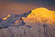 Sunset glow on Mt. McKinley summit, Denali National Park & Preserve, Interior Alaska, Summer.