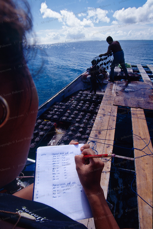 Inventory of oyster stocks at the Breijos Farm on Manihi as oyster come off the boats for harvesting.