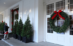 Christmas trees and holiday decorations are seen outside of the White House in Washington, DC, November 27, 2017. . Photo by Olivier Douliery/Abaca Press