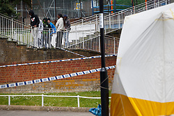 © Licensed to London News Pictures. 01/06/2014. LONDON, UK. Members of the public watching police officers investigating a crime scene in Sydenham, Lewisham after a 18-year-old man was stabbed to death in Wells Park Road. Photo credit : Tolga Akmen/LNP