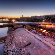 View of the Missouri River from the Broadway Bridge while MO-169 road work closed the bridge, Kansas City, Missouri.
