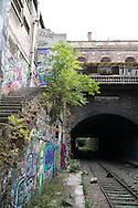 France. Paris 14th district., Gare Montrouge ceinture .  former railway line around Paris,  /  la petite ceinture ferroviaire de Paris.