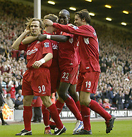 Photo: Aidan Ellis.<br /> Liverpool v West Ham Utd. The Barclays Premiership.<br /> 29/10/2005.<br /> Liverpool's Boudejwin Zenden leads the celebrations after his goal put Liverpool 2 -0 up