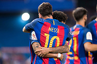 FC Barcelona's forward Leo Messi and forward Neymar Santos Jr celebrating a goal during Copa del Rey (King's Cup) Final between Deportivo Alaves and FC Barcelona at Vicente Calderon Stadium in Madrid, May 27, 2017. Spain.<br /> (ALTERPHOTOS/BorjaB.Hojas)