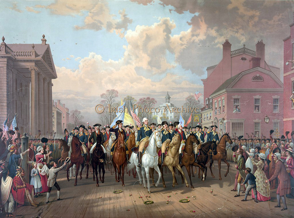 Revolutionary War 1775-1783 (American War of Independence): George Washington riding in triumph through streets of Boston after 11-month siege ended with the withdrawal (evacuation) of British  forces. Chromolithograph 1879.