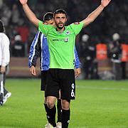 Konyaspor's Ufukhan BAYRAKTAR celebrate victory during their Play Off Second leg match at AliSamiYen Stadium in Istanbul Turkey on Thursday, 20 May 2010. Photo by TURKPIX