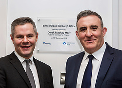 Derek Mackay, Finance Secretary (left) and Scott Stevenson, group director of Emtec, at the official opening of the building services firm's office at Ratho, Edinburgh. Pic: Terry Murden @edinburghelitemedia