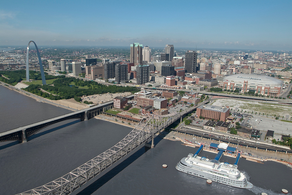 The St. Louis skyline and Mississippi River in St. Louis, Missouri.