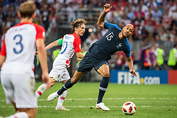 July 15, 2018 - Moscow, Russia - 180715 Steven Nzonzi of France falls in a duel with Luka Modric of Croatia during the FIFA World Cup final match between France and Croatia on July 15, 2018 in Moscow..Photo: Petter Arvidson / BILDBYRÃ…N / kod PA / 92087 (Credit Image: © Petter Arvidson/Bildbyran via ZUMA Press)